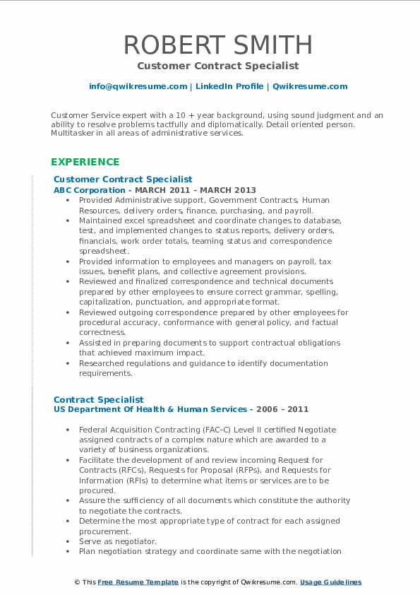 Customer Contract Specialist Resume Example