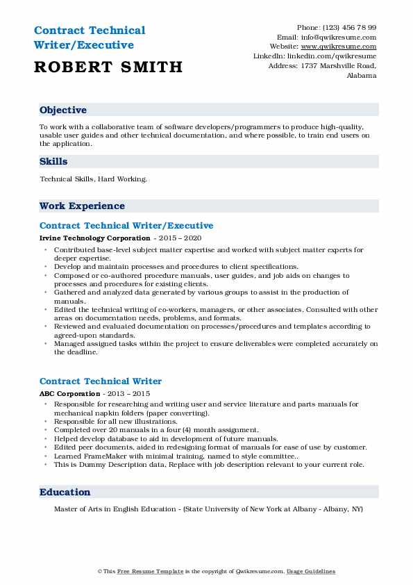 contract technical writer resume samples  qwikresume