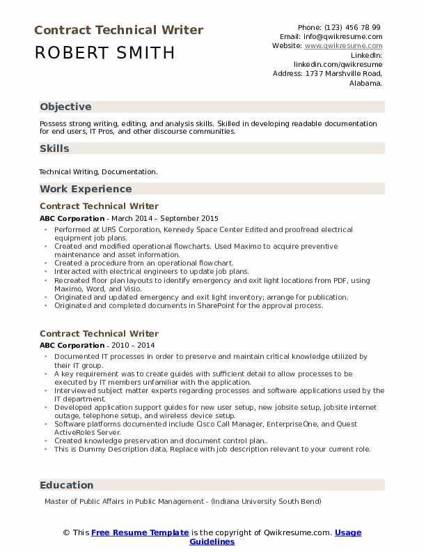 Contract Technical Writer Resume example