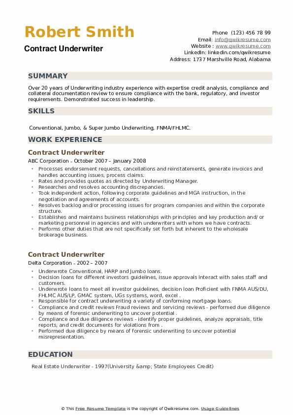 Contract Underwriter Resume example