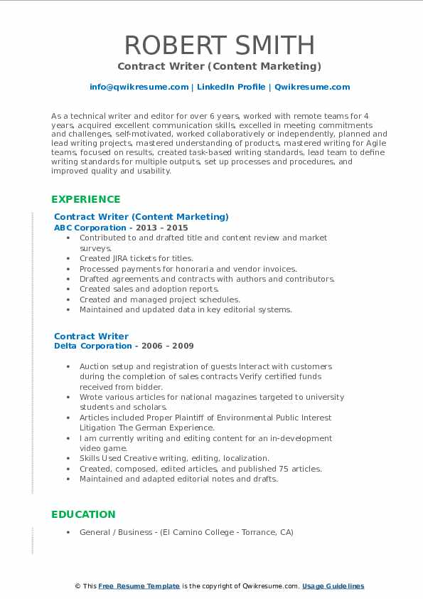 contract writer resume samples  qwikresume