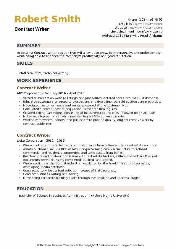 Contract Writer Resume example