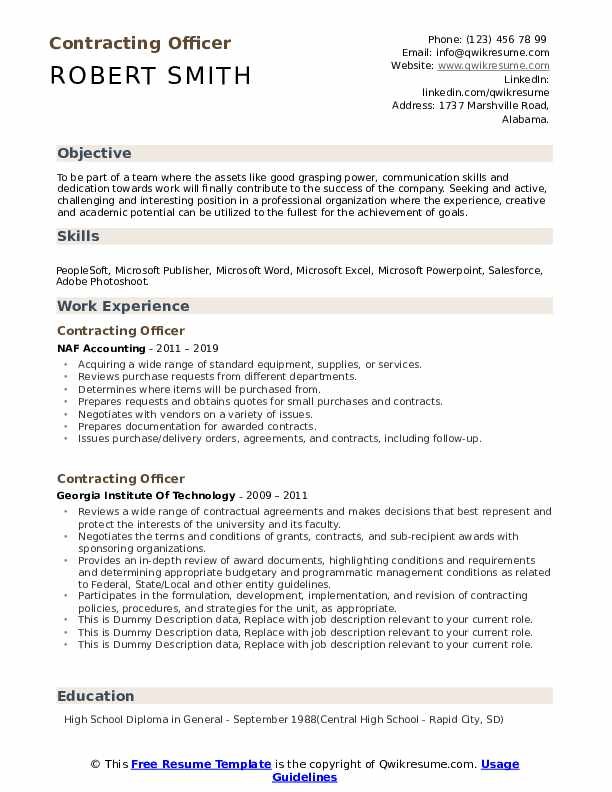 Contracting Officer Resume example