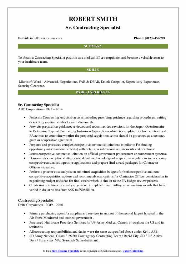 contracting specialist resume samples  qwikresume