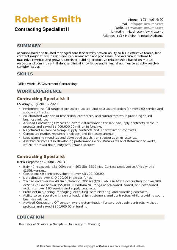 Contracting Specialist Resume example