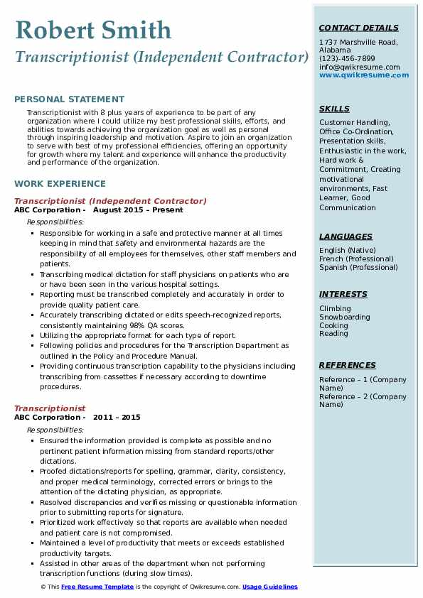 how to put independent contractor on resume