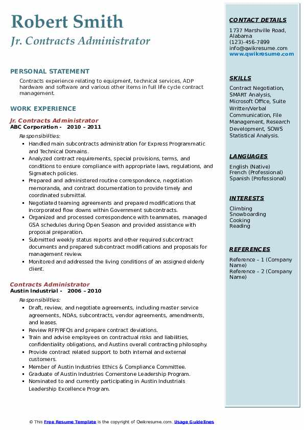Jr. Contracts Administrator Resume Format