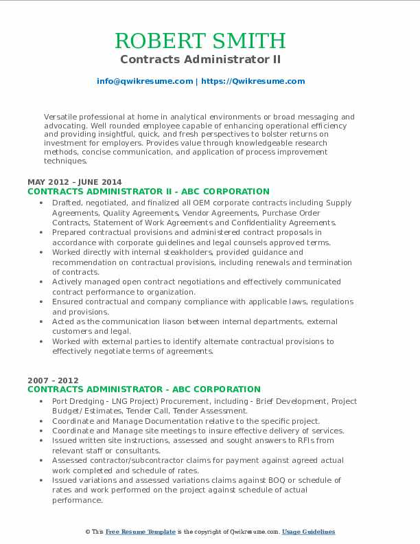 Contracts Administrator II Resume Sample
