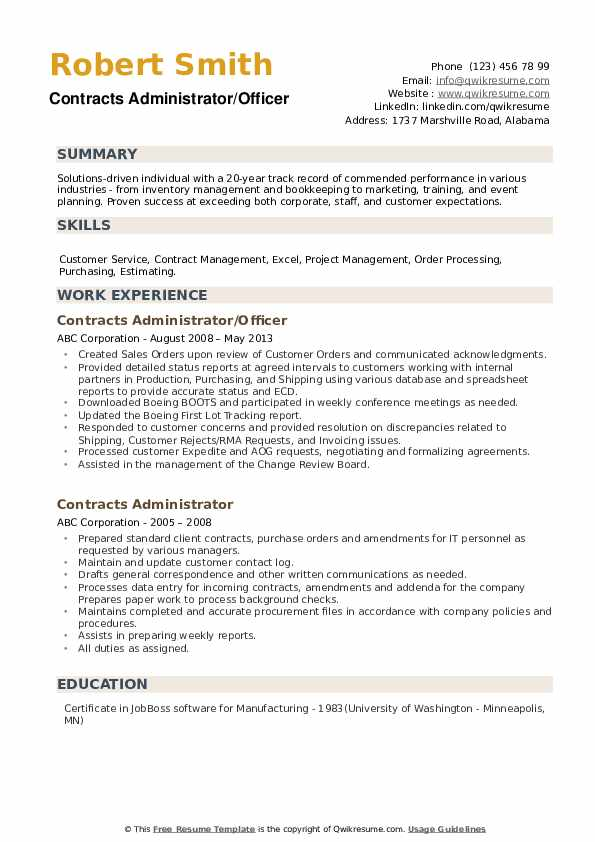 Contracts Administrator/Officer Resume Template