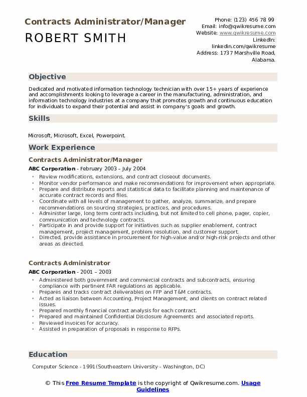 Contracts Administrator/Manager Resume Model