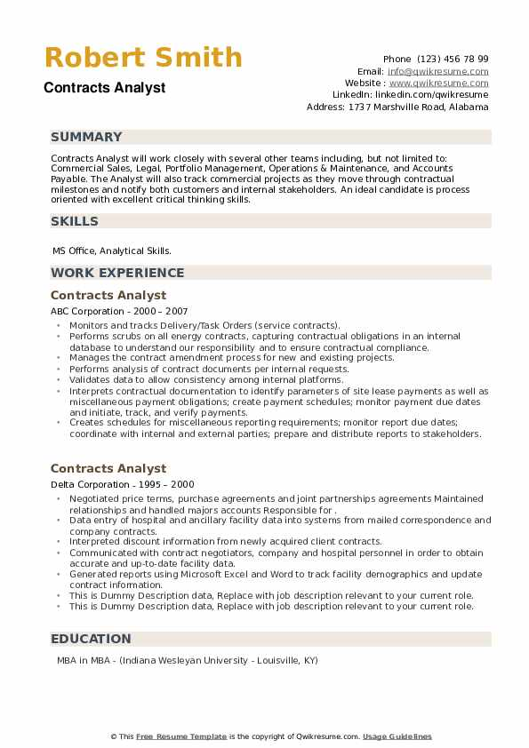 Contracts Analyst Resume example