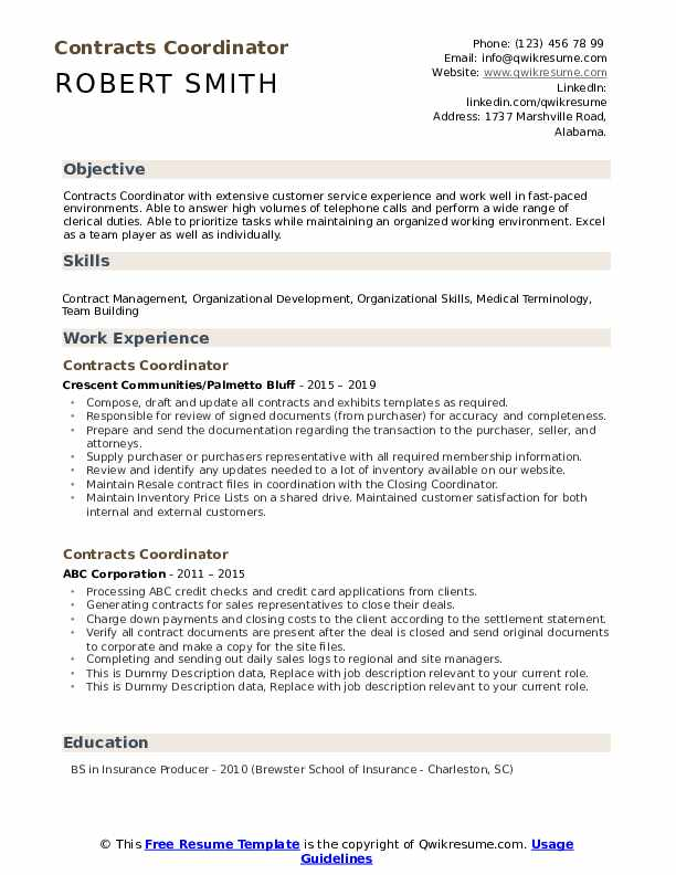 Contracts Coordinator Resume example