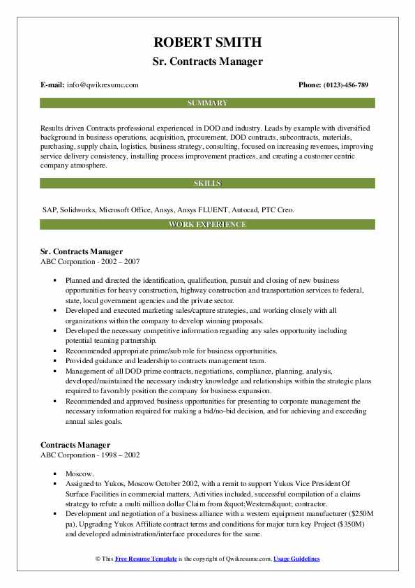 Sr. Contracts Manager Resume Model