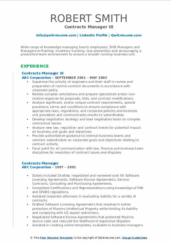 Contracts Manager III Resume Format