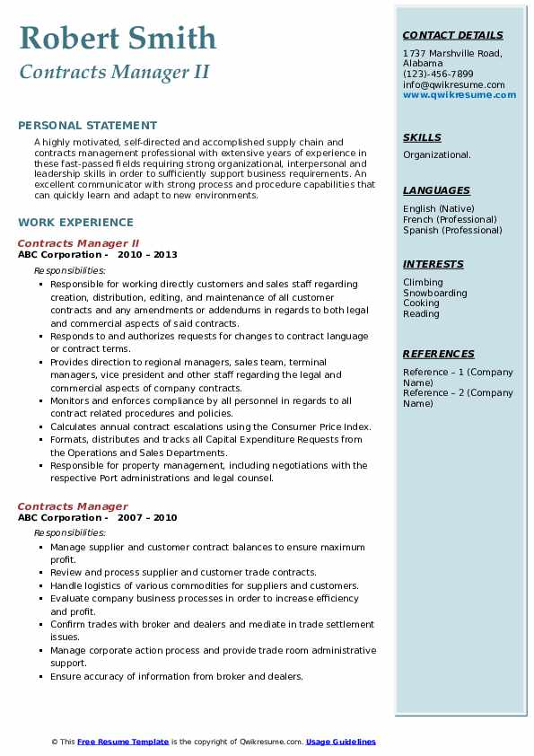Contracts Manager II Resume Model