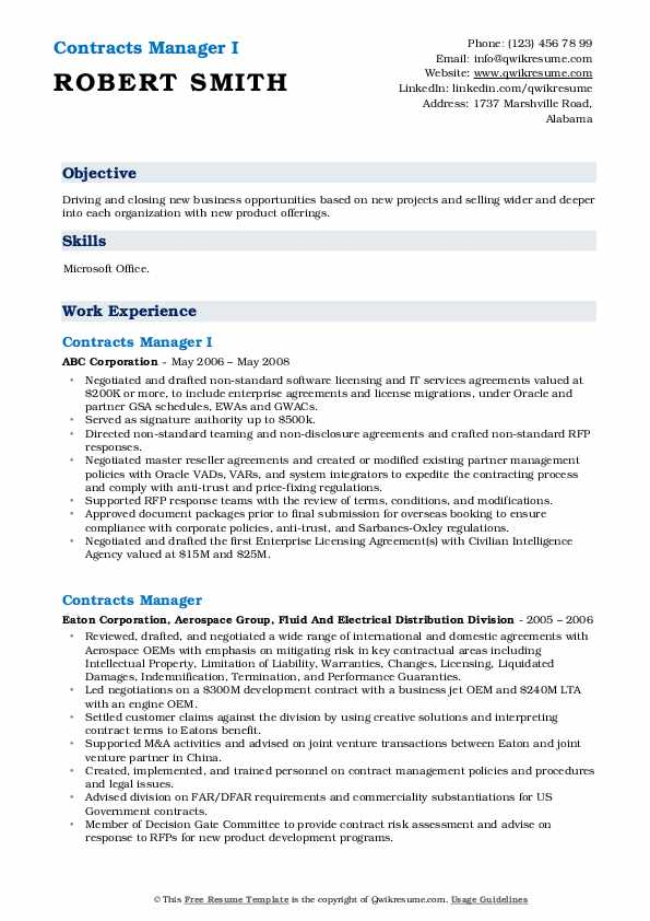 Contracts Manager I Resume Format