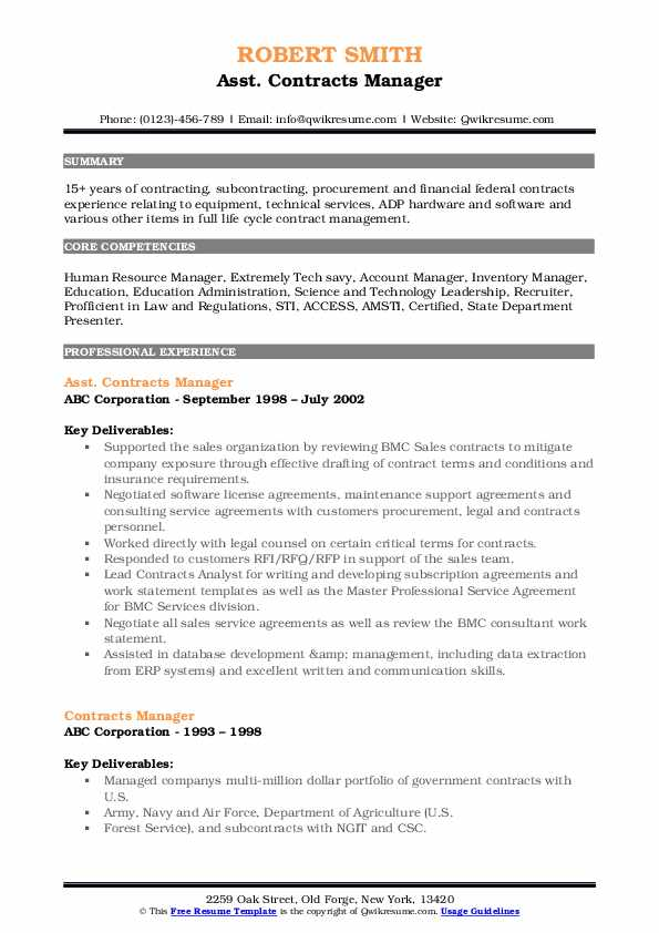 Asst. Contracts Manager Resume Model