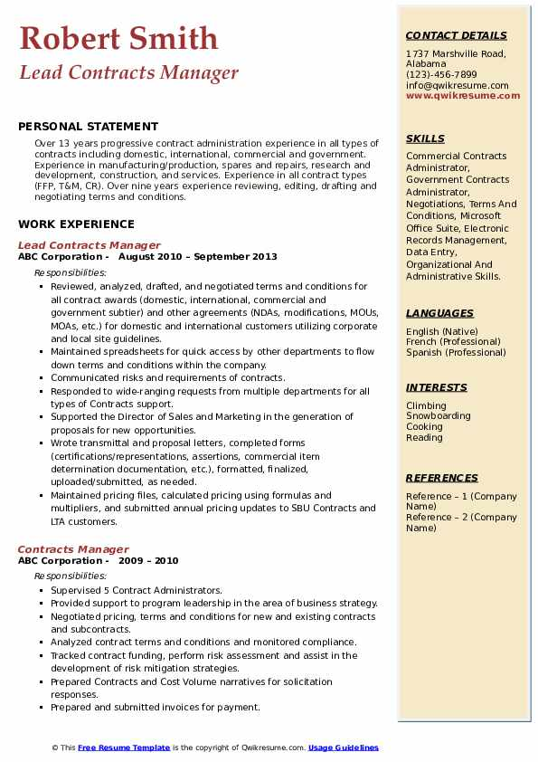 Lead Contracts Manager Resume Example