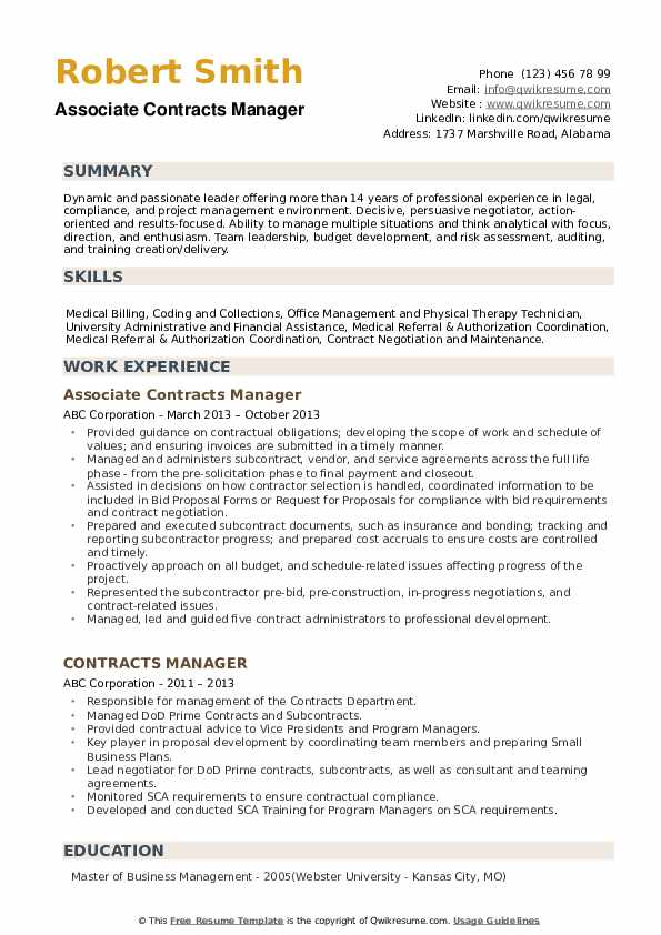Associate Contracts Manager Resume Model
