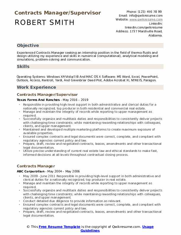Contracts Manager/Supervisor Resume Example