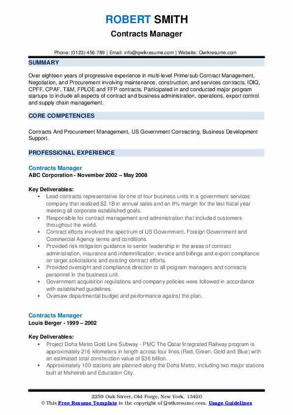 Contracts Manager Resume example