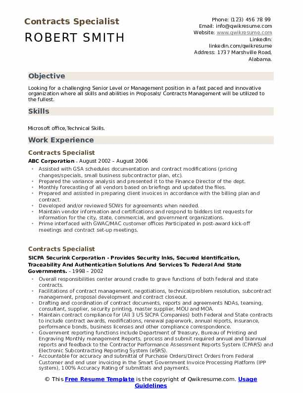 contracts specialist resume samples  qwikresume