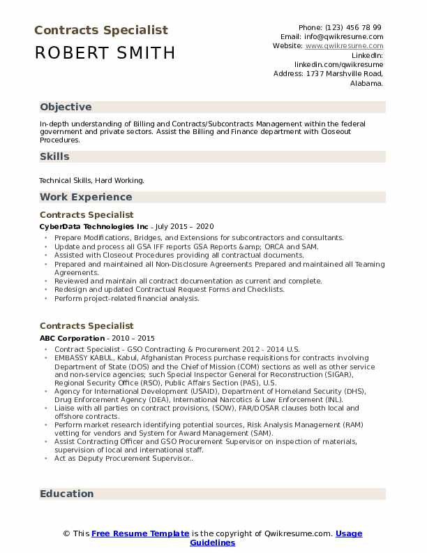 Contracts Specialist Resume example