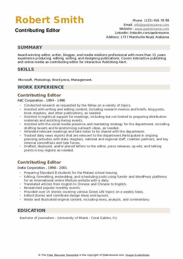Contributing Editor Resume example