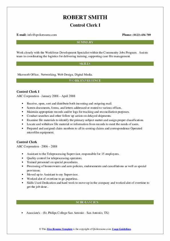 control clerk resume samples  qwikresume