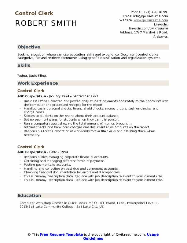 Control Clerk Resume example