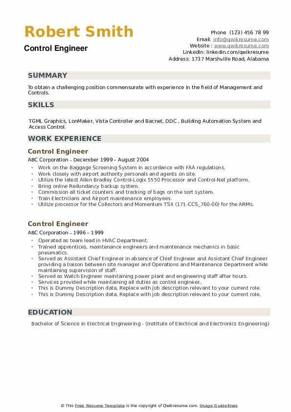 Control Engineer Resume example
