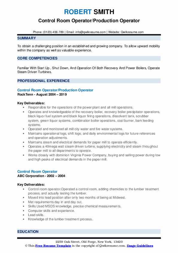 Control Room Operator/Production Operator Resume Model