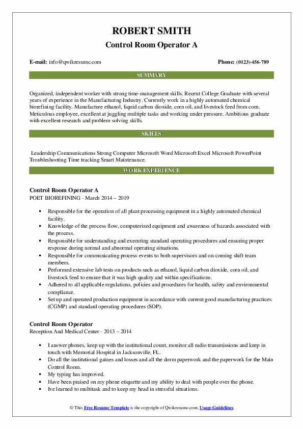 Control Room Operator A Resume Sample