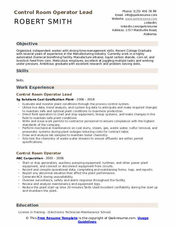 Control Room Operator Lead Resume Model