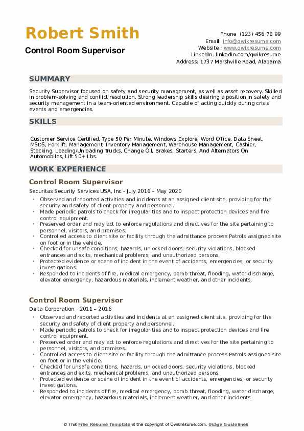 Control Room Supervisor Resume example