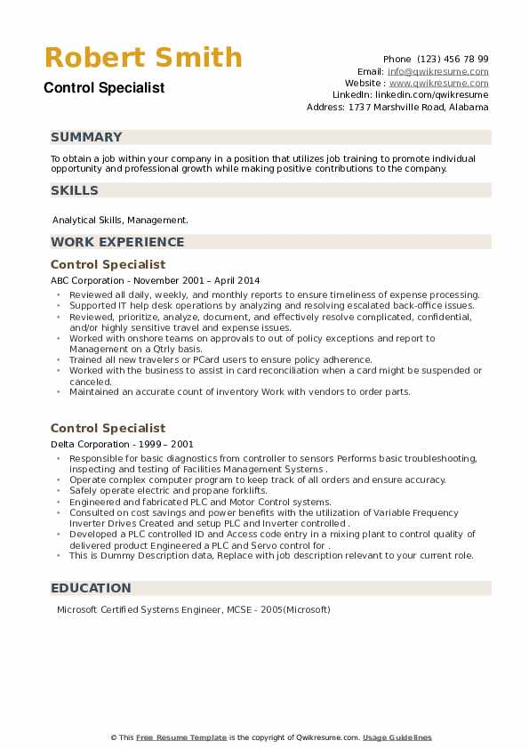 Control Specialist Resume example