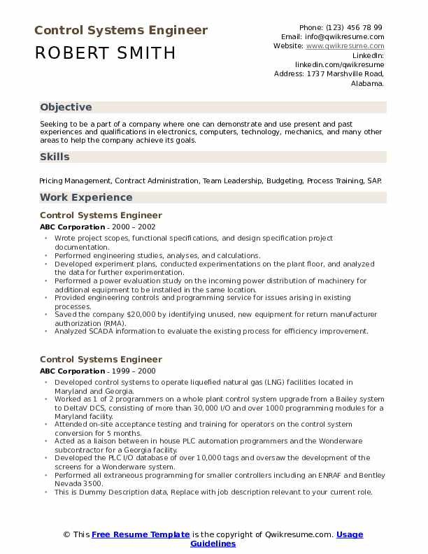 Control Systems Engineer Resume example