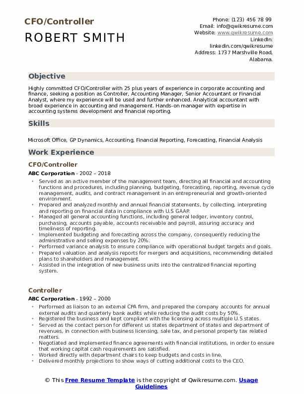 CFO/Controller Resume Model