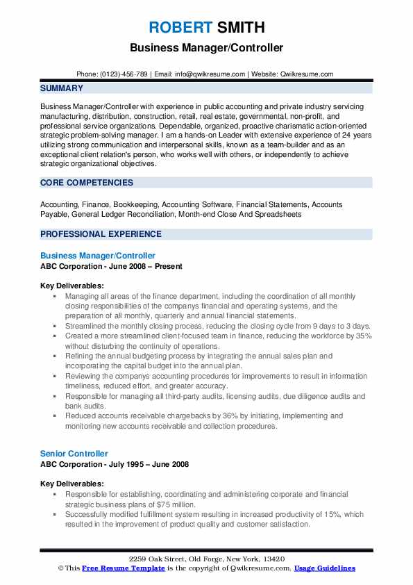 Business Manager/Controller Resume Sample