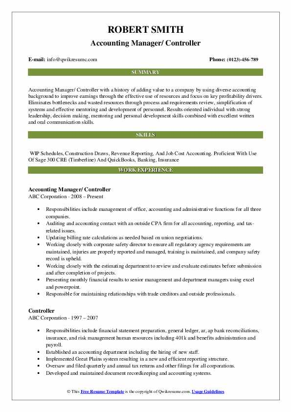Accounting Manager/ Controller Resume Model