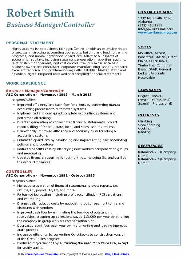 Business Manager/Controller Resume Example