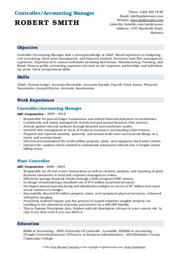 Controller/Accounting Manager Resume Example
