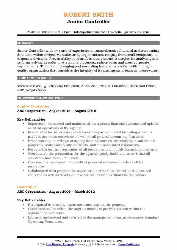 Junior Controller Resume Model