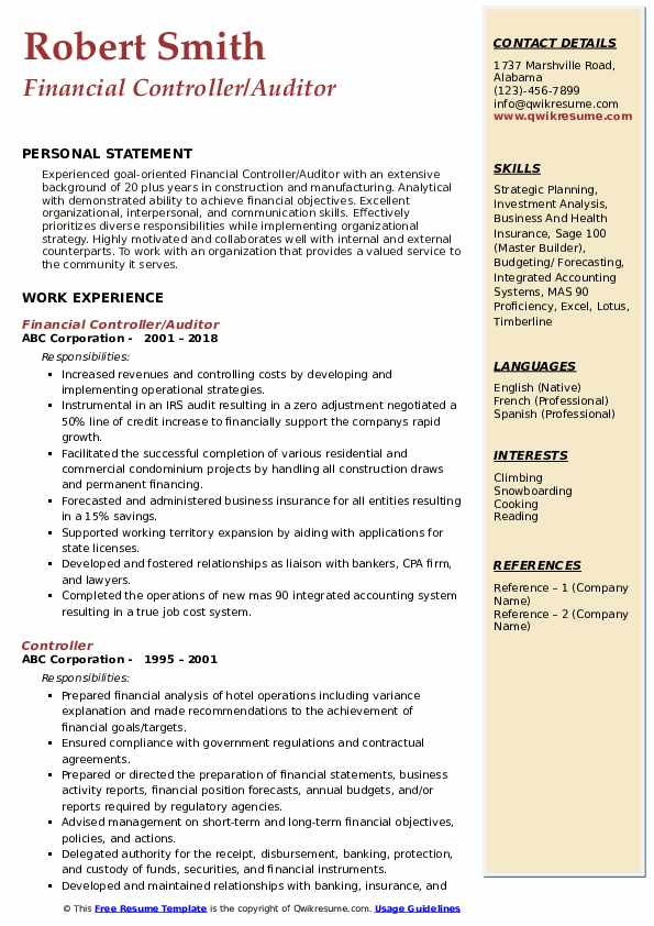Financial Controller/Auditor Resume Sample
