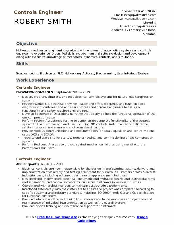 Controls Engineer Resume Example
