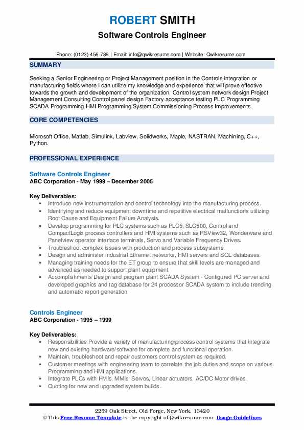 Software Controls Engineer Resume Sample