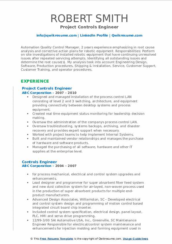 Project Controls Engineer Resume Model