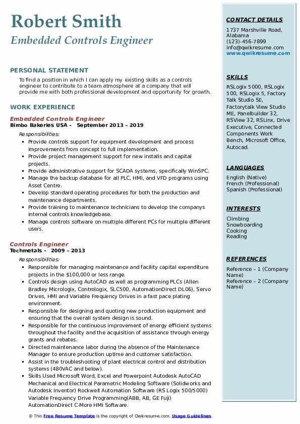 Embedded Controls Engineer Resume Template