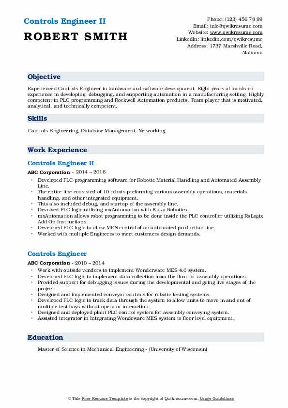Controls Engineer II Resume Model
