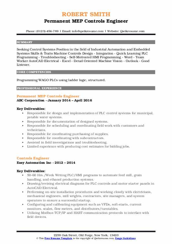 Permanent MEP Controls Engineer Resume Sample